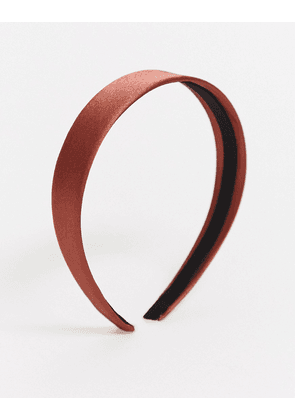ASOS DESIGN alice band in chocolate satin-Brown