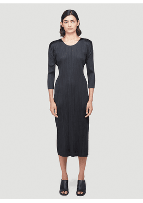 Pleats Please Issey Miyake Long-Sleeved Pleated Dress in Black size JPN - 3