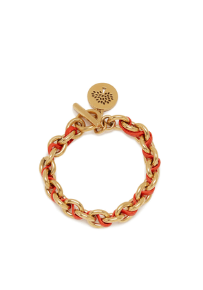 Mulberry Medium Medallion Leather Chain Bracelet in Coral Orange and Gold Calfskin and Brass