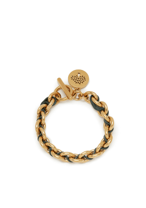 Mulberry Leather Chain Bracelet in Mulberry Green Brass