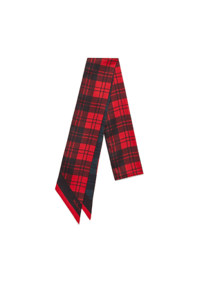 Mulberry Tartan Check Bag Scarf in Scarlet Polyester
