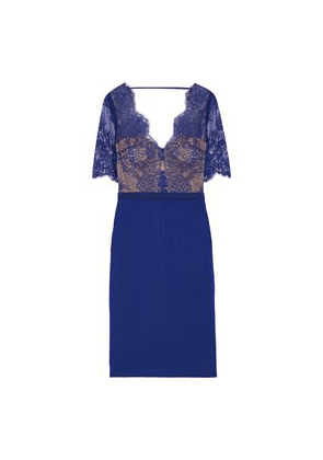 Catherine Deane Naomi Grosgrain-trimmed Lace And Ponte Dress Woman Royal blue Size 6