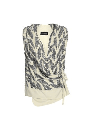 By Malene Birger Sequined Crepe Wrap Top Woman Cream Size 34