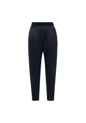 By Malene Birger Grosgrain-trimmed Satin Tapered Pants Woman Navy Size 38