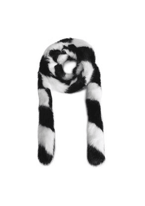 Charlotte Simone Striped Faux Fur Scarf Woman White Size --