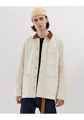 Weekday Sunset jacket with cord collar in ecru-White