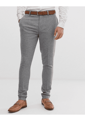 ASOS DESIGN wedding super skinny suit trousers in micro grey houndstooth