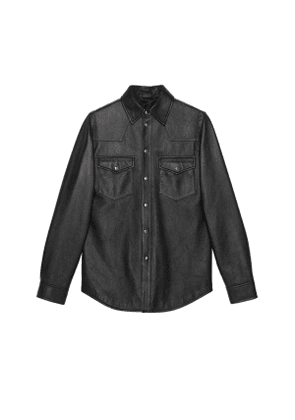 Leather shirt with Gucci logo