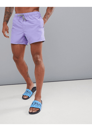 ASOS DESIGN swim shorts in lilac short length with black & white drawcord-Purple