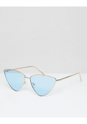 ASOS DESIGN Extreme Almond Cat Eye Sunglasses With Blue Lens-Gold
