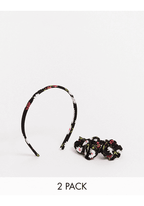 ASOS DESIGN 2 pack headband and scrunchie in daisy print-Multi