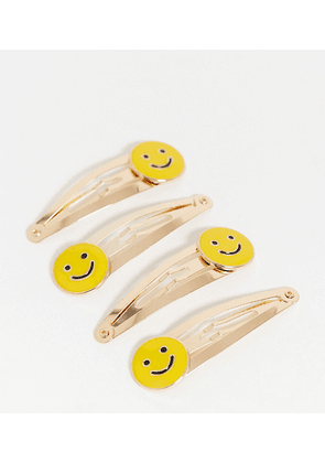 ASOS DESIGN pack of 4 hair clips with happy smile faces-Yellow