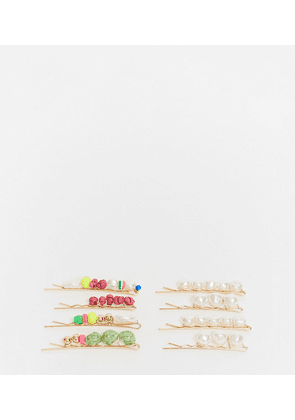 ASOS DESIGN pack of 8 hair clips with faux pearls and stone beads-Multi