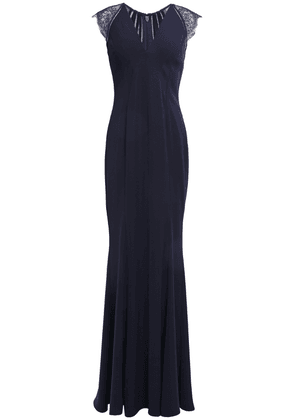 Catherine Deane Melissa Lace-paneled Lattice-trimmed Cady Gown Woman Navy Size 6
