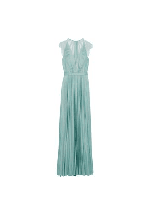 Catherine Deane Nelia Lace-paneled Pleated Satin Gown Woman Grey green Size 6