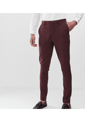 ASOS DESIGN Tall super skinny suit trousers in burgundy-Red