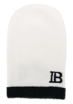 Balmain monogram knitted beanie - White