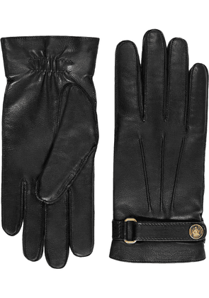 Gucci logo tab gloves - Black