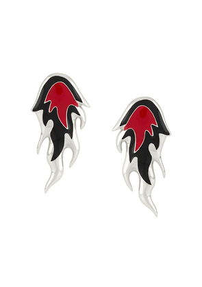 AMBUSH flame sculpted earrings - Red