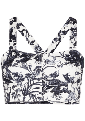 Erdem April printed bralette - White