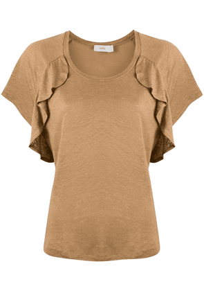 Closed ruffle-trimmed T-shirt - Brown