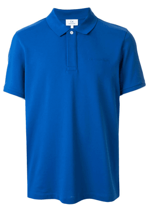CK Calvin Klein logo embroidered layered style polo shirt - Blue