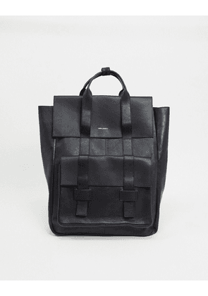 ASOS DESIGN leather backpack in black saffiano with double straps