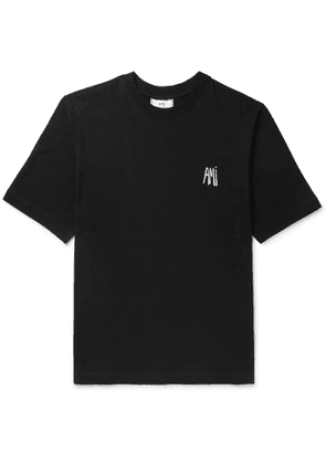 AMI - Logo-embroidered Cotton-jersey T-shirt - Black