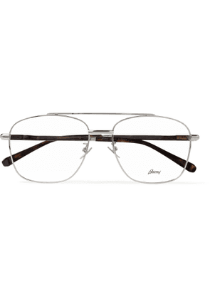 Brioni - Aviator-Style Silver-Tone and Tortoiseshell Acetate Optical Glasses - Men - Silver