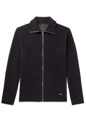 Dunhill - Ribbed Stretch Cotton-Blend Zip-Up Sweater - Men - Black