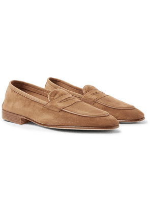 Edward Green - Polperro Leather-trimmed Suede Penny Loafers - Brown