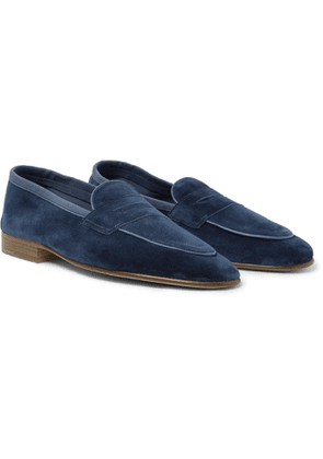 Edward Green - Polperro Leather-trimmed Suede Penny Loafers - Blue
