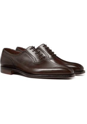 George Cleverley - Anthony Pebble-grain Leather Oxford Brogues - Brown