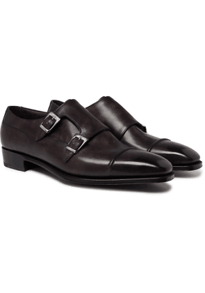 George Cleverley - Caine Leather Monk-strap Shoes - Brown