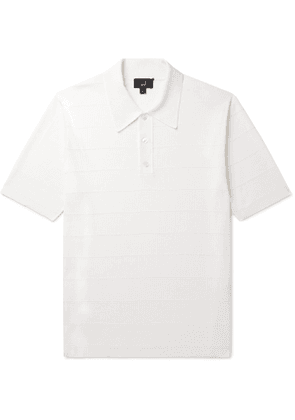 Dunhill - Striped Ribbed Mulberry Silk Polo Shirt - Men - White