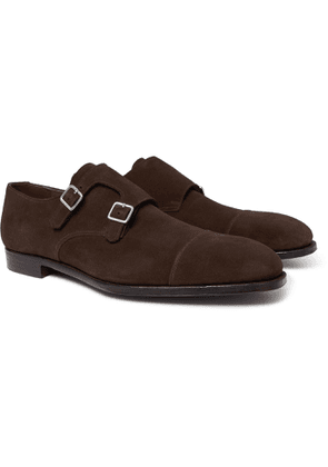 George Cleverley - Thomas Cap-toe Suede Monk-strap Shoes - Brown