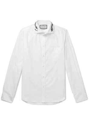 Gucci - White Slim-fit Cutaway-collar Embroidered Cotton-poplin Shirt - White