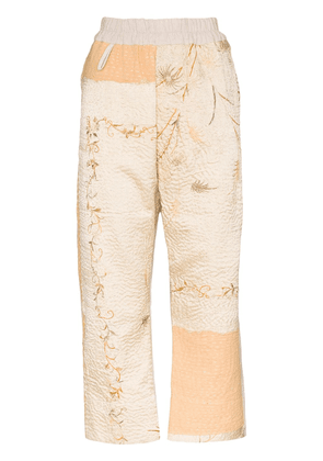 By Walid Jenny floral-embroidered cropped trousers - NEUTRALS