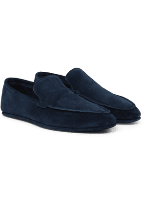 Loro Piana - Walk At Home Cashmere-Lined Suede Slippers - Men - Blue