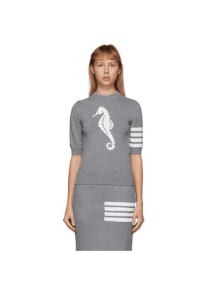 Thom Browne Grey Sea Horse Short Sleeve Crewneck