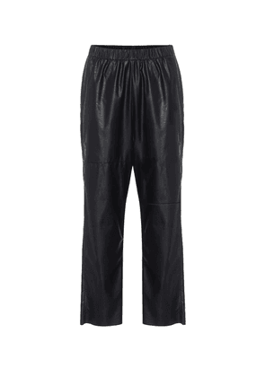 Faux-leather relaxed pants