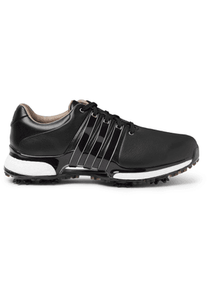 Adidas Golf - Tour360 Xt Pvc And Rubber-trimmed Leather Golf Sneakers - Black