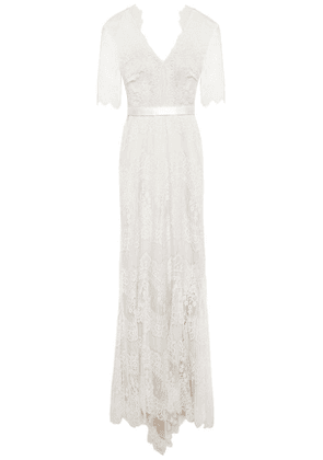 Catherine Deane Satin-trimmed Corded Lace Gown Woman Ivory Size 10