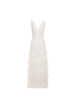 Catherine Deane Kershaw Tiered Lace And Point D'esprit Gown Woman Neutral Size 10