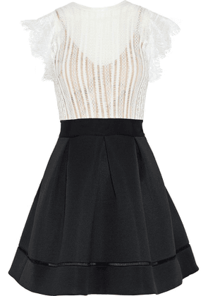 Catherine Deane Ina Lace And Pleated Neoprene Mini Dress Woman White Size 14