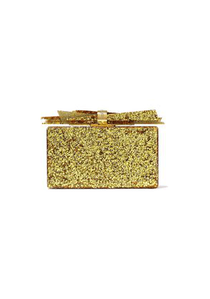 Edie Parker Wolf Glittered Acrylic Box Clutch Woman Gold Size --