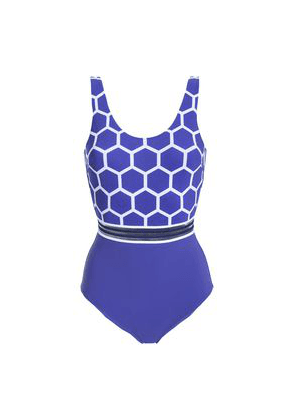 Emma Pake Coco Mesh-trimmed Printed Swimsuit Woman Royal blue Size S