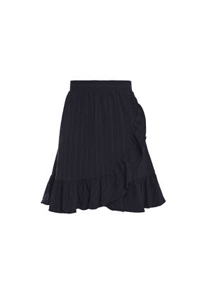 Ganni Wrap-effect Ruffle-trimmed Pinstriped Stretch-crepe Mini Skirt Woman Navy Size 38