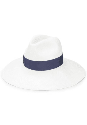 Borsalino grosgrain trim sun hat - White