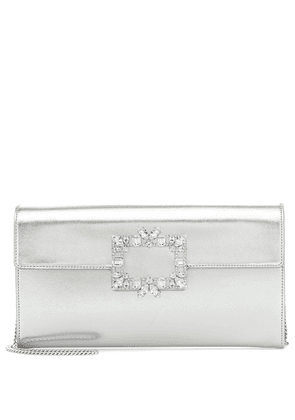Broche Vivier leather clutch